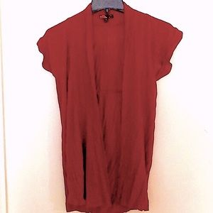 Red short sleeve cover up